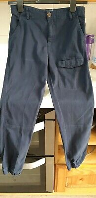 Brilliant boys navy blue cargo style trousers cuffed bottom age 12 years