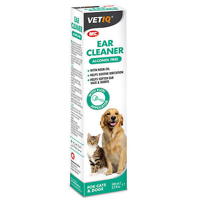 VetIQ Ear Cleaner For Cats Dogs 100Ml Ear Solution Soothes Irritation Soften Wax