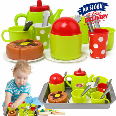 Toy Tea-Set Saucers Teapot Childrens Metal Cups Kitchen Afternoon Play Food Cake