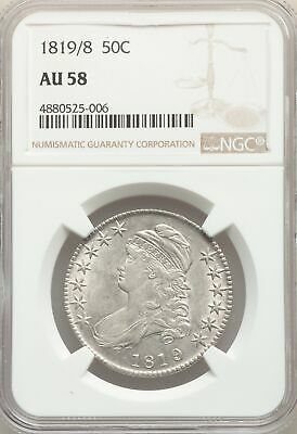 1819/8 US Silver 50C Capped Bust Half Dollar - Small 9 - NGC AU58
