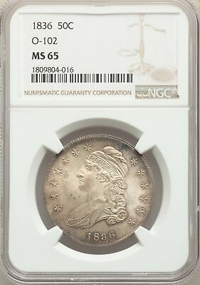 1836 US Silver 50C Capped Bust Half Dollar - O-102 - NGC MS65