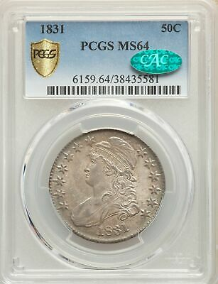 1831 US Silver 50C Capped Bust Half Dollar - PCGS MS64 - CAC