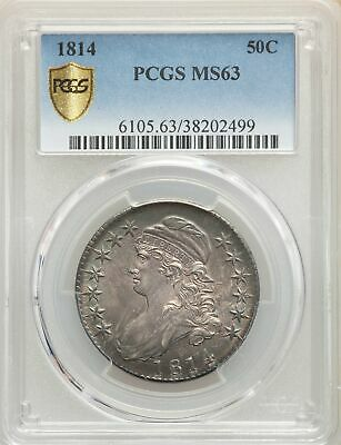 1814 US Silver 50C Capped Bust Half Dollar - PCGS MS63