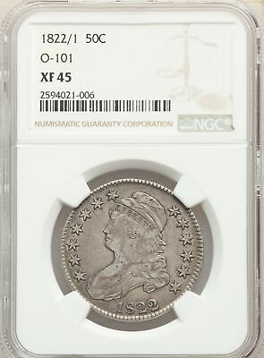 1822/1 US Silver 50C Capped Bust Half Dollar - O-101 - NGC XF45