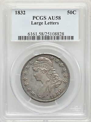 1832 US Silver 50C Capped Bust Half Dollar-Large Letters - PCGS AU58