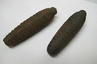 "Pair of Vintage Cast Iron Cuckoo Clock Pine Cone Weights~14-15 oz. Ea~4.75"" Long"