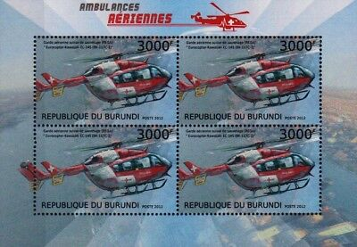 EUROCOPTER EC145 REGA Swiss Air Ambulance Helicopter Aircraft Stamp Sheet (2012)