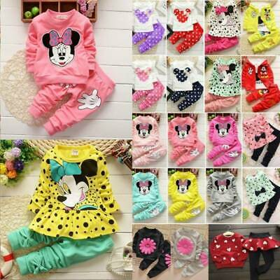 Toddler Kids Baby Girls Outfits Tops Pants Minnie Mouse Tracksuit Clothes Set UK