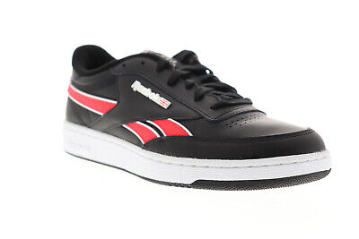 Reebok Club C Revenge MU Mens Black Leather Low Top Lace Up Sneakers Shoes