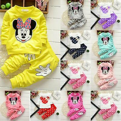 2Pcs Toddler Baby Girls Outfits Set Minnie Mouse Winter Top Pants Casual Clothes