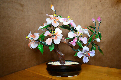 Chinese Peking Jade Glass Bonsai Tree with 9 Blossom Flowers & 6 Buds in 4 Diffe