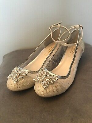 Monsoon Girls Party Wedding Shoes BNWT Butterfly Silver Communion Size 3
