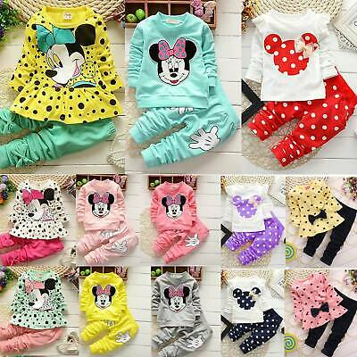 Toddler Baby Girls Outfits Set Mickey Minnie Mouse Sweatshirt Tops Pants Clothes