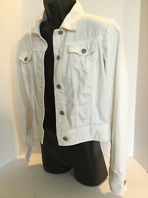 The Limited White Denim Jean Jacket Women's Size S Brushed Look Cotton Spandex