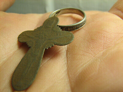 Church Set Authentic!Late Medieval Bronze Cross Pendant+Sterl.silver Ring #1536