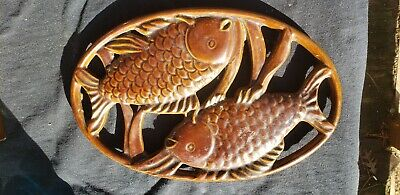 Invicta  brown Enameled Cast Iron Oval Trivet Fish Made in France RARE HTF Stove