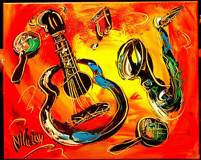 MUSIC JAZZ   Mark Kazav  Abstract Modern CANVAS Original Oil Painting NR