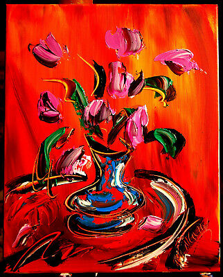 PINK FLOWERS by Mark Kazav  Abstract   WALL DECOR CANVAS ORIGINAL PAINTING NO RS