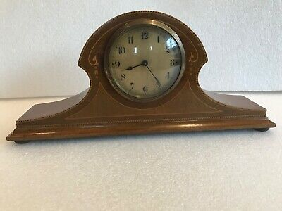 Antique Art nouveau  mahogany mantle clock with inlaid decoration.