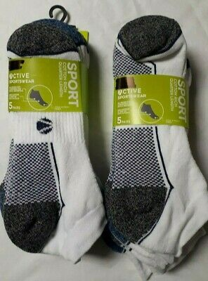 Mens Cushion Sole Active Sportswear Ankle Trainer Liners Socks 10 Paires