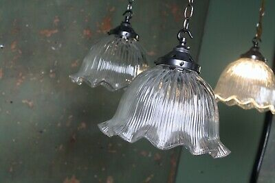 Pair Holophane style Prismatic Glass Fluted Lights Pendants Antique Industrial