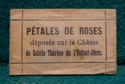 RELIC: ROSE PETALS LAID ON COFFIN ST THERESE LISIEUX w/SEAL Vtg FOLDED RELIQUAR