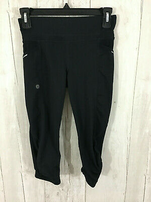 ATHLETA GIRL TIGHT LEGGING L-12  Black 2 Side POCKET ZIPPER Back Pocket Capri