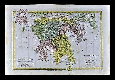 1818 Wilkinson Map Ancient Greece Peloponnesus Mycenae Athens Sparta  Anacharsis