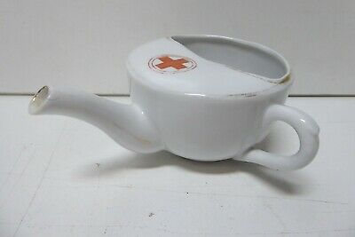 Antique Porcelain Red Cross Hospital Medical Feeding Cup Jug