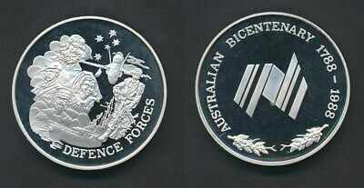 Australia: 1988 Official Bicentennial 71g 50mm Proof Silver Medal, Defence Force