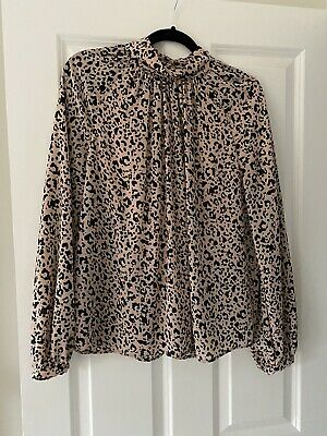 MARKS & SPENCER Ladies Pale Pink Animal Print Top - Size 12