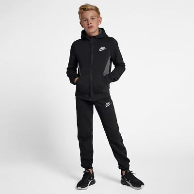 Nike Boys NSW BF Core Hooded Black/Grey Full Tracksuit 10-12_12-13_13-15 Yrs