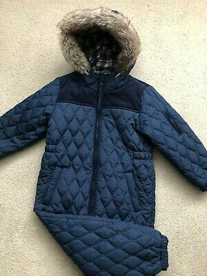 Next Boys Padded Quilted Navy Blue Snowsuit/all in one age 2-3 years