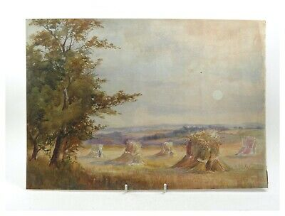 Antique early 20th century watercolour painting rural farm field landscape