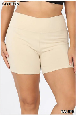 Zenana Outfitters 2X Shorts Wide Waistband Premium Stretch Cotton Blend  Taupe