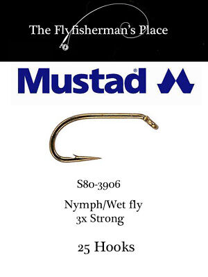 Wet Signature Fly Hook 3X STRONG 1000 Pack S82NP Bronze CHOOSE Mustad Nymph
