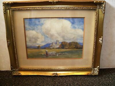 Late C19Th To Early C20Th Continental School Castle Ruins Sheep Watercolour