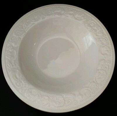 "Set Of 8 Farberware Calais 9"" Rimmed Soup Cereal Pasta Bowls White Gold"