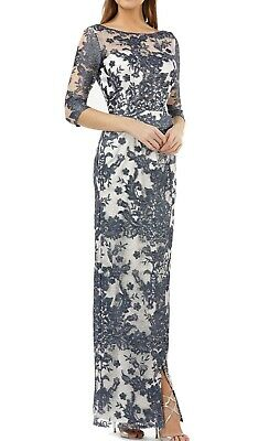JS Collections Womens Gown Blue Size 12 Lace Illusion Slit 3/4 Sleeve  $375 202