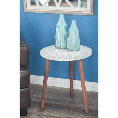 Modern 21 Inch Carved Mandala Design Wooden Accent Table by White
