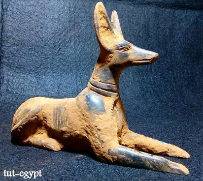 RARE ANTIQUE ANCIENT EGYPTIAN Statue Black God Anubis Jackal Head Dog 2680 Bc