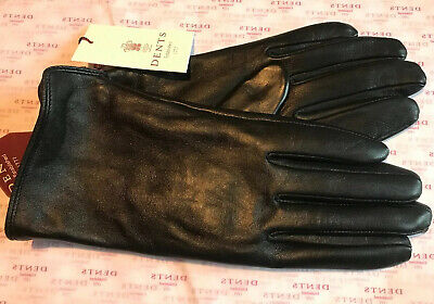 Dents Ladies Black Leather Warm Lined Gloves Size 7.5 Large Bnwt