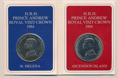 St Helena & Ascension Island: 1984 Prince Andrew Royal Visit 50p Crowns Pack