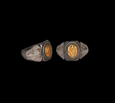 Roman Silver Ring with Gold Clasped Hands  2nd-3rd century AD.