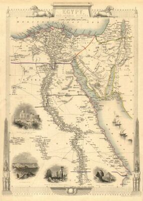 EGYPT/ARABIA PETRAEA. Cairo/Alexandria views.Nile valley.TALLIS/RAPKIN 1851 map