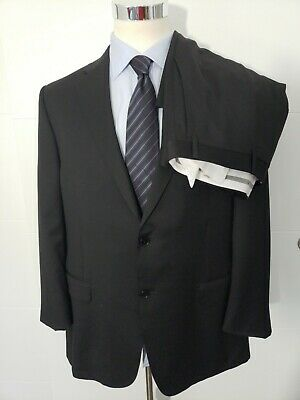 CANALI Recent Solid Black 100% Wool 2 pc SUIT Mens EU 48 / US 38 R Pants 40x30