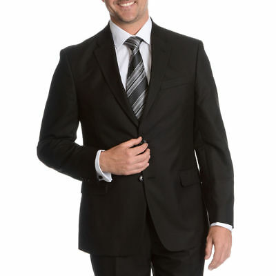 NWT TOMMY HILFIGER Men's 50R Solid Black Suit 2-Btn Side Vent Tailored Trim Fit