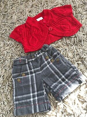 Baby Girls Lovely Next Set Cardi And Checked Shorts  3-6 Months