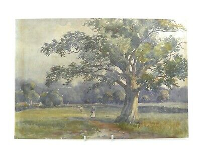 Antique early 20th century watercolour painting landscape with figures on path