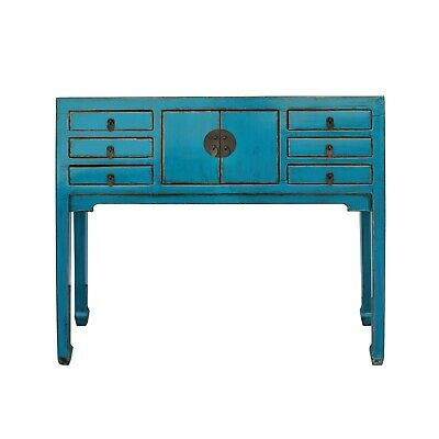Chinese Oriental Rustic Blue Lacquer Drawers Slim Side Table cs5424